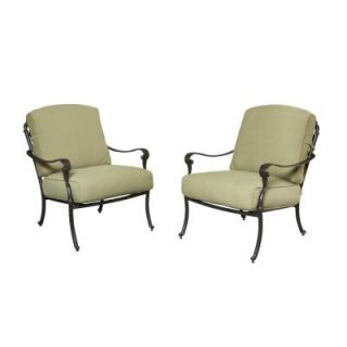 Hampton Bay Edington Patio Lounge Chair with Celery Cushion (2 Pack) 141 034 LC2