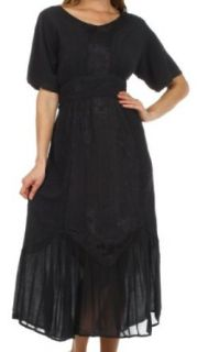 Sakkas 75004 Arabella Embroidered Empire Waist Dress   Black   One Size
