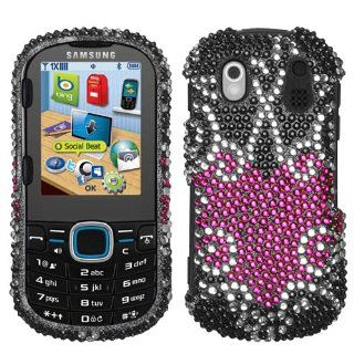 Samsung U460 U 460 Intensity 2 II Cell Phone Full Diamond Crystals Bling Protective Case Cover Black with Hot Pink Trapped Love Heart Design Cell Phones & Accessories
