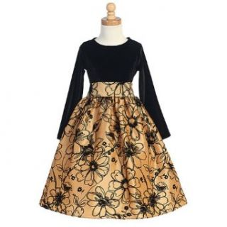 Baby Girls Gold Velvet Floral Christmas Dress 18 24M  Infant And Toddler Special Occasion Dresses  Baby