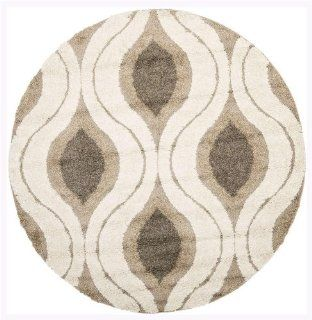 Safavieh Florida Shag Collection SG461 1179 Cream and Smoke Shag Round Area Rug, 6 Feet 7 Inch Round