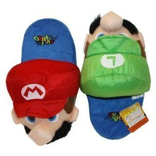 "Super Mario Brothers Luigi & Mario Slipper Plush (Kids Size   up to 9"" Long) Shoes"
