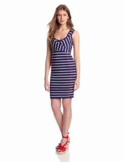 Jessica Simpson Women's Fitted Stripe Dress, Navy Blue, X Small