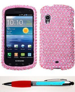 Accessory Factory(TM) Bundle (the item, 2in1 Stylus Point Pen) SAMSUNG I405 (Stratosphere) Dots(Pink white) Full Diamond Bling Phone Protector Cover Stylish Full Diamond Bling Design Snap On Hard Case Protector Cover Faceplate Shell Cell Phones & Acce