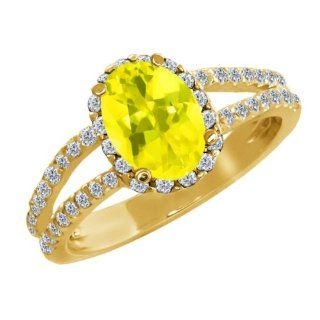 2.08 Ct Oval Canary Mystic Topaz Diamond Gold Plated Sterling Silver Ring Jewelry