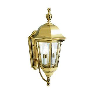 Kichler Lighting 9439PB LifeBrite 2 Light Outdoor Wall Mount Lantern, Polished Brass with Clear Beveled Glass Panels   Wall Porch Lights