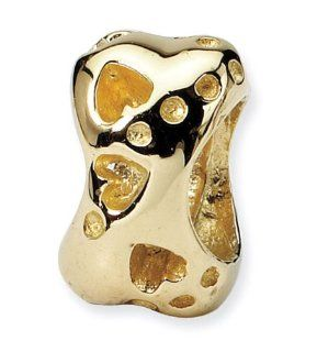 "14k Yellow Gold 5/16"" Dog Paw Print Bone Jewelry Bead Jewelry"