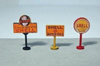 SHELL GAS STATION CURB SIGNS (3)   JL INNOVATIVE DESIGN HO SCALE MODEL TRAIN ACCESSORIES 464 Toys & Games
