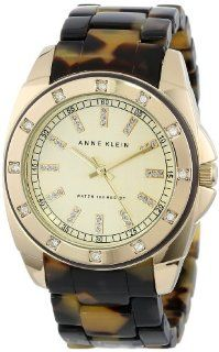 Anne Klein Women's 10/9988CHTO Swarovski Crystal Accented Gold Tone Tortoise Resin Bracelet Watch Anne Klein Watches