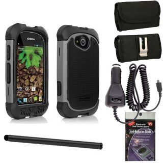 Black and Charcoal AGF BALLISTIC SG MAXX SERIES Heavy Duty Rugged Cover Case for Sprint Kyocera Torque. Comes with Horizontal Metal Clip Case that fits your phone with the cover on it, Car Charger, Stylus Pen and Radiation Shield. Cell Phones & Access