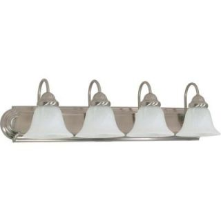 Glomar Ballerina 4 Light Brushed Nickel Vanity with Alabaster Glass Bell Shade HD 322