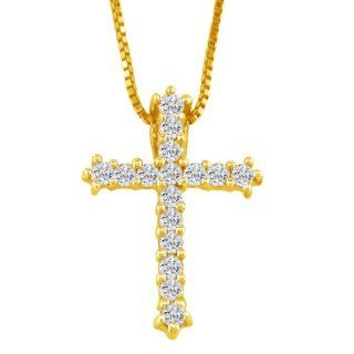 Such A Deal 1/4 Carat Yellow Gold Diamond Cross Jewelry