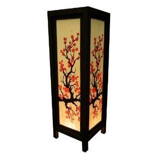 Thai Wood Lamp Handmade Oriental Classic Japanese Red Sakura Cherry Blossom Tree Branch Bedside Table Lights or Floor Home Decor Bedroom Decoration Modern Design   Outdoor Table Lamps