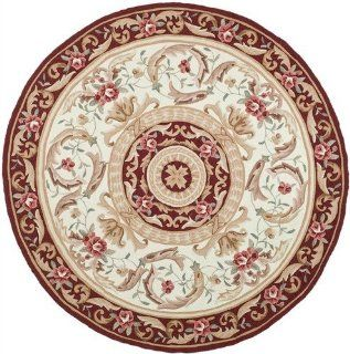 Safavieh Simple Care Collection EZC472A Round Area Rug, 8 Feet, Ivory and Burgundy