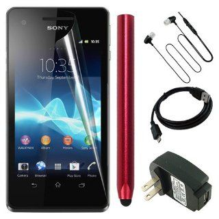 Skque Clear Anti Scratch Screen Protector Skin Film + Black Micro USB Charging Cable + Black USB Wall/Travel Charger + Aluminum Pencil Style Stylus Pen,Red + Black 3.5mm Stereo Headset for Mobile Phone Sony Xperia V LT25i Cellphone Cell Phones & Acces