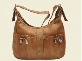 Roma Brown Leather Hobo Handbag Bag Purse Clothing