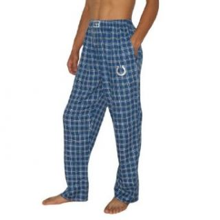 Mens NFL Indianapolis Colts Plaid Cotton Thermal Sleepwear / Pajama Pants   Blue & White (Size XL)  Sports Fan Pants  Sports & Outdoors