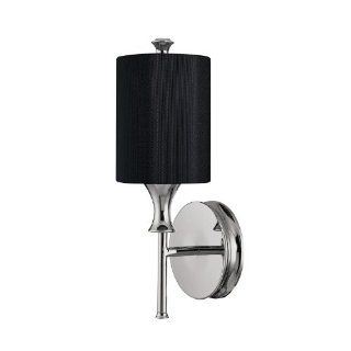 Capital Lighting 1171PN 494 Studio 1 Light Sconce, Polished Nickel with Black Fabric Shade   Wall Sconces