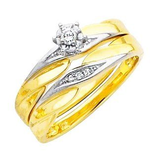 14K Yellow and White 2 Two Tone Gold Women's Round cut Diamond Enagagement Ring and Wedding Band 2 Pieces Bridal Set (0.1 CTW., G H Color, SI Clarity) Jewelry