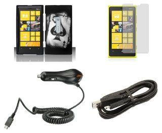 Nokia Lumia 920 (AT&T) Combo   Black Ace Skull Design Shield Case + Atom LED Keychain Light + Screen Protector + Micro USB Cable + Car Charger Cell Phones & Accessories