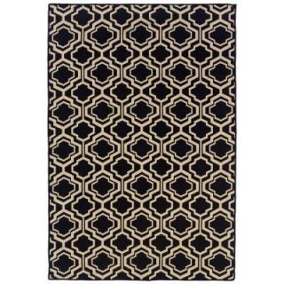 Linon Home Decor Salonika DB Quatrefoil Black 5 ft. x 8 ft. Area Rug RUG SA0958