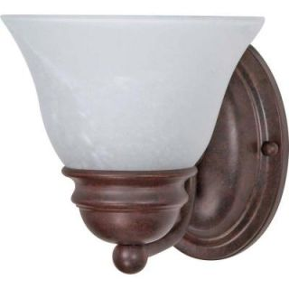 Glomar Empire 1 Light Old Bronze Vanity with Alabaster Glass Bell Shades HD 344