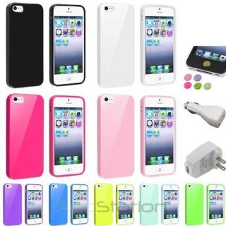 NEW YEAR  Bargain 2014 deal Color Jelly Gel TPU Rubber Case+White AC+Car Charger+Sticker For iPhone 5 5S PlEASE CHOOSE 1 COLOR Cell Phones & Accessories