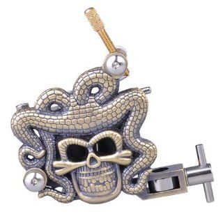 Copper Engraved Skull Head with Snake Dreads Tattoo Machine Gun   10 and 12 Coil Wrap (12 Coil Wrap) Health & Personal Care