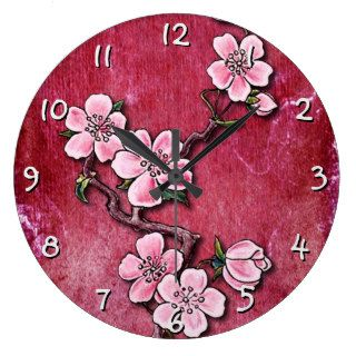 Pink Cherry Blossom Floral Tattoo Art Design Wallclocks