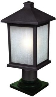 Z Lite 507PHM 533PM BK Holbrook Outdoor Post Light, Metal Frame, Black Finish and White Seedy Shade of Glass Material   Outdoor Post Light Fixtures