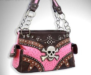 WESTERN OSTRICH RHINESTONE HANDBAG WITH SKULL HEAD PURSE   PINK
