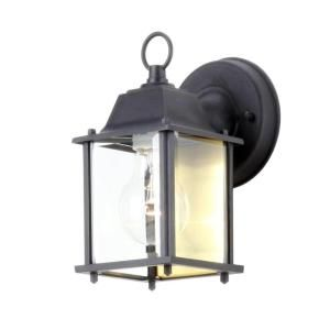 Hampton Bay 1 Light Outdoor Black Wall Lantern BPM1691 BLK