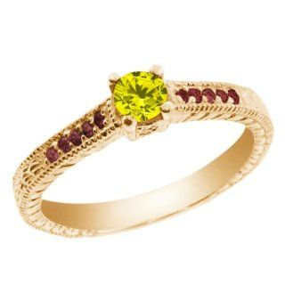 0.35 Ct Canary Diamond Red Rhodolite Garnet 18K Yellow Gold Engagement Ring Jewelry