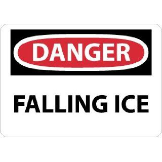 "NMC D530RB OSHA Sign, Legend ""DANGER   FALLING ICE"", 14"" Length x 10"" Height, Rigid Plastic, Black/Red on White Industrial Warning Signs"