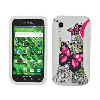 Hybrid Case Fits Samsung T959 I9000 Vibrant Galaxy S 4G Two Pink Butterflies White Hybrid Case (Outside Two Pink Butterflies Soft Silicone Skin, Inside White Front and Back Hard Case) T Mobile Cell Phones & Accessories