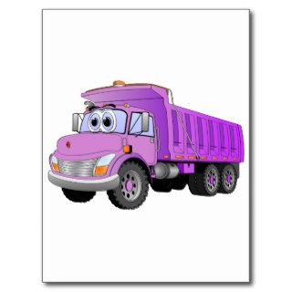 Purple Dump Truck Cartoon Post Card