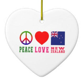 Peace Love New Zealand Christmas Ornaments