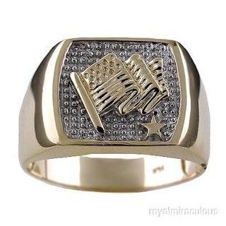 Mens Diamond 14K Yellow Gold US Flag Ring Jewelry