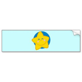 HAPPY SMILING GOLDEN STAR CARTOON BLUE YELLOW BUMPER STICKER