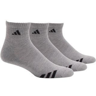 adidas Cushioned 3 Stripe 3 Pack Quarter Socks   Size Sock Size 6 12, Aluminum