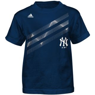 adidas Youth New York Yankees Laser Field Short Sleeve T Shirt   Size 4