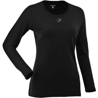 Antigua Womens San Jose Sharks Relax LS 100% Cotton Washed Jersey Scoop Neck