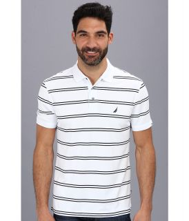 Nautica Stripe Tech S/S Pique Polo Shirt Mens Short Sleeve Pullover (White)