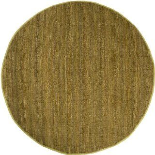 8' Crestele Solid Bronze Mist Gold Hand Woven Jute Round Area Throw Rug   Handmade Rugs