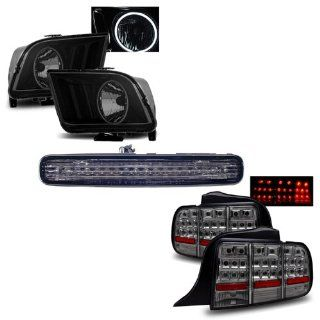 05 09 Ford Mustang Smoke CCFL Halo Headlights + LED 3RD Brake Light + LED Tail Lights Combo Automotive