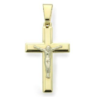 "14K Gold Cross Pendant Jesus Crucifix Italian Two Tone Gold Pendant, 0.8"" X 1.6"" Jewelry"
