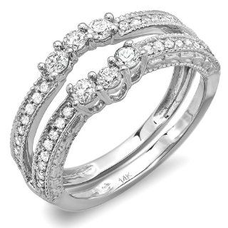0.60 Carat (ctw) 14k White Gold Round Diamond Ladies Anniversary Wedding Band Enhancer Guard Ring Jewelry