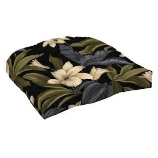 Hampton Bay Black Tropical Blossom Tufted Outdoor Seat Pad (2 Pack) JC19398X 9D2