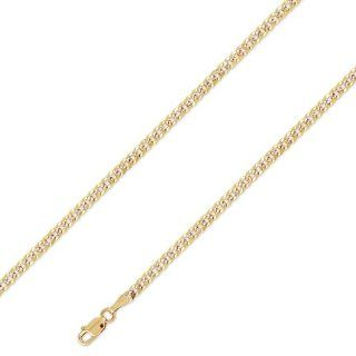 14K Solid 2 Two Tone Yellow White Gold Curb Cuban Chain 3.1mm (7/64 in.)   18 in. Chain Necklaces Jewelry