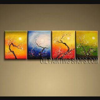 "MODERN ART Paintings ABSTRACT Landscape BLOSSOM TREE IMPRESSION WORTHlESS Signed Original By Bo Yi Art Studio 68"" x 20""   Oil Paintings"